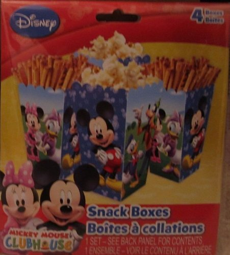 (Disney Jr. Mickey Mouse Clubhouse Party Supplies Treat/Snack Boxes - Featuring Mickey Mouse, Minnie Mouse, Daisy Duck, Donald Duck & Goofy! 4/Pkg.)