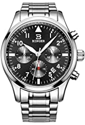 BINGER Mens Date Luxury Stopwatch Chronograph Waterproof Stainless Steel Business Casual Wrist Watch