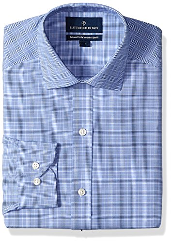 Buttoned Down Men's Tailored Fit Spread-Collar Non-Iron Dress Shirt, Blue Glen Plaid, 16.5'' Neck 37'' Sleeve by Buttoned Down