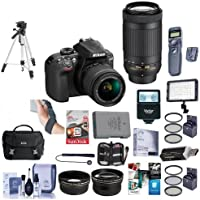 Nikon D3400 DX-Format DSLR Camera With AF-P DX 18-55mm F/3.5-5.6G VR, AF-P DX 70-300mm F/4.5-6.3G ED Lenses, Black - Bundle - 64GB SDxC Card, Camera Bag, Spare Battery, Tripod, Video Light, More