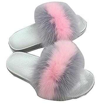 e7010ca5577 MSFS Pantoufles pour Femmes Plume de Fourrure Open Toe Tongues Faire  Glisser Sandales Souples Multicolore