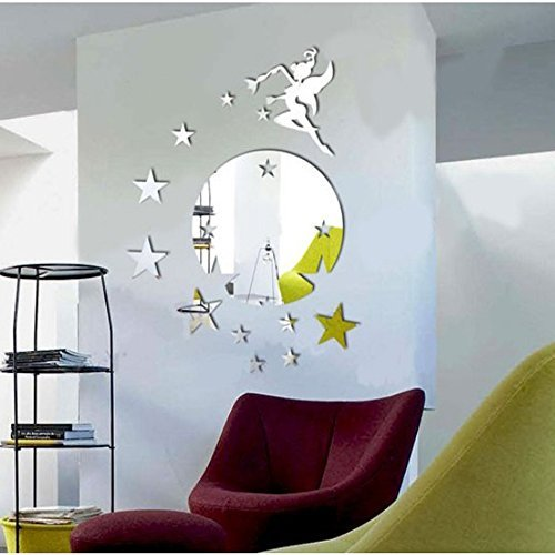 Silver Round Disk Fairy Stars Modern Stylish Fashion Art Design Removable DIY Acrylic 3D Mirror Wall Decal Wall Sticker for Decorate Interior Walls Or Windows Of Home, Bathroom, Office, Dorm, Or Store (Kirby Toilet compare prices)