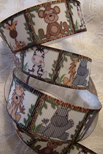 Jungle Animal Printed Grosgrain Ribbon - 7/8
