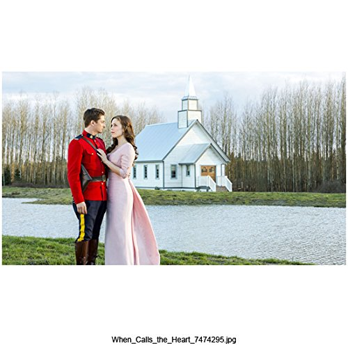 When Calls the Heart (TV Series 2014 - ) (8 inch by 10 inch) PHOTOGRAPH Daniel Lissing & Erin Krakow from Ankles Up Next to Water w/Church in Background kn
