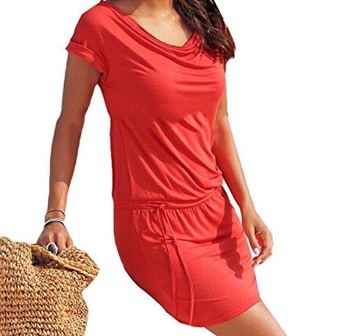 Robes D'ajustement En Vrac Des Femmes Coolred Hauts Ras Du Cou Rouge Robe Crayon
