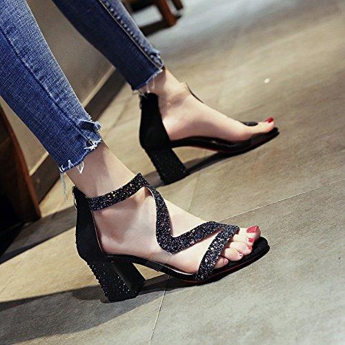 Zapatos Toe de Moda de Señoras Toe YMFIE de black Boda Zipper Diamond de Sandalias Verano tacón Partido Bola qXwxY6f