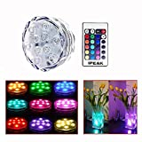 IPEAK Submersible LED Light Multi Color Waterproof Wedding Party Vase Base Floral Swimming Pool Fountain Garden Remote Control Light