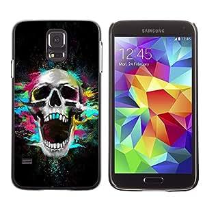 TECHCASE**Cubierta de la caja de protección la piel dura para el ** Samsung Galaxy S5 SM-G900 ** Skull Neon Scream Teeth Skeleton Colorful