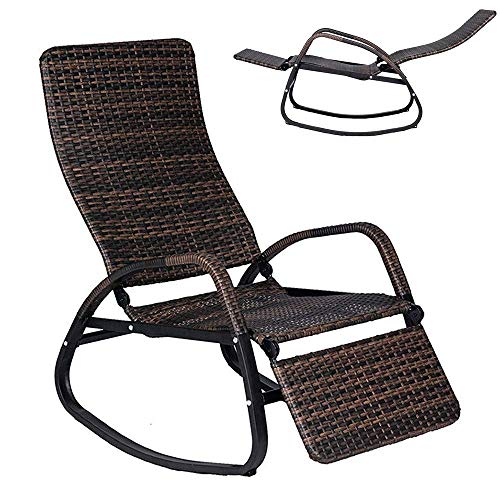 Cirocco Wicker Rattan Rocking Chair Reclining Rocker Lounger Couch | Back & Footrest Adjustable Heavy Duty Support 350Lbs Foldable Ergonomic Comfort | for Indoor Porch Patio Outdoor Backyard Garden
