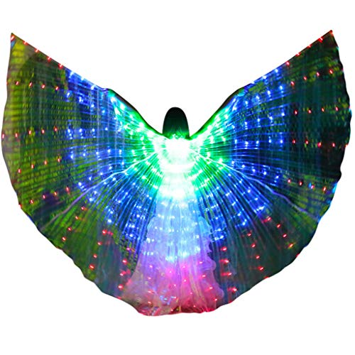 m·kvfa Women LED Belly Dance Wings Colorful Wings with Telescopic Stick for Halloween Carnival Performance Angel Wings (Green) -
