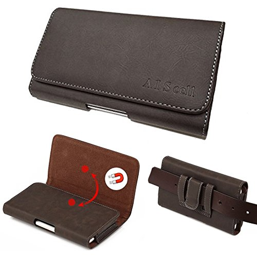 Google Pixel 2 ~ Large Brown Suede Faux Leather Pouch Holster Case Magnetic Closure Built in Belt Clip Belt Loop(Fits Phone With Hybrid Armor Dual Layer Protective Kickstand Cover) (Br (Big Tex Holster)