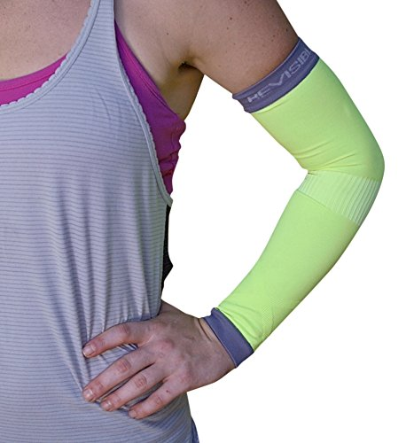BeVisible Sports Arm Compression Sleeves Arm & Elbow Support For Men Women & Youth - Boosts Circulation, Aids Faster Recovery -With SPF 50+ UV Sun Protection - 1 Pair (Small/Medium, Green)