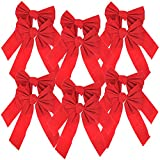 Iconikal 5-Loop Red Velvet Bows 9 x 16-Inch, 12-Pack
