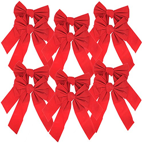 Velvet Bows 9 x 16-Inch, 12-Pack (Red Bows)
