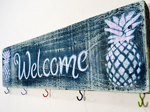 Pineapple Decor Door Hanger | Custom Wood Signs | Welcome Sign with 5 Hooks | Key Holder | Coat Rack | Wood Entryway Organizer | Mudroom Storage (Welcome Pineapple Signs)
