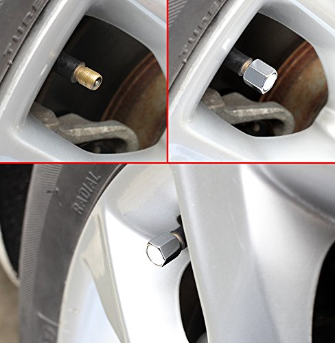 CHAMPLED NEW (4PC) FIAT LOGO METAL BLACK WHEEL TIRE AIR VALVE STEM CAPS DUST COVER by Champled (Image #4)