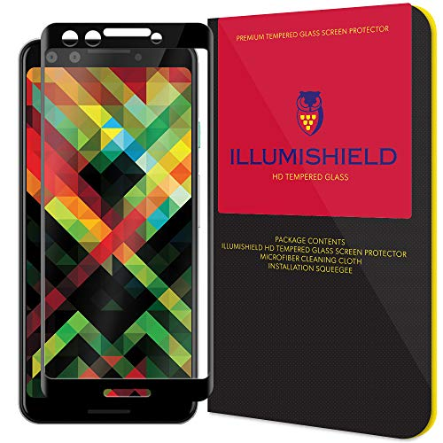 iLLumiShield Glass Screen Protector Compatible with Google Pixel 3 (1-Pack)(3D Glass - Black) Anti-Scrach and No-Bubble Tempered Glass