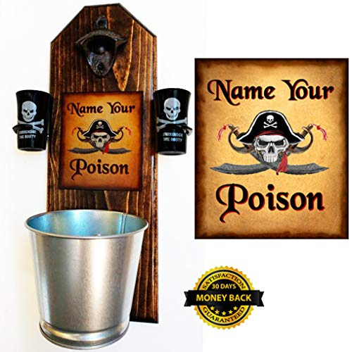 Ltd Edition - Pirate - Name Your Poison Bottle Opener and Cap Catcher with 2 Surrender the Booty Shot Glasses - 3/4