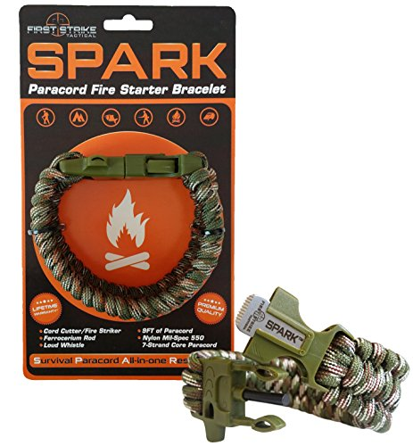 Braid Green Bracelet - SPARK (TM) Fire Starter Outdoor Survival Paracord Bracelet Green Camo with Army Green Whistle Side Release Buckle Kit with Scraper - BEST FIRE STARTER (Green Camouflage)