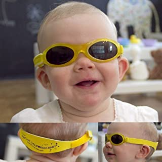 product image for California Baby Banz Sunglasses for Girls and Boys | 0-24 Months | Adjustable Comfort Strap | Round Lenses with UVA and UVB Protection | Lightweight and Flexible Fit