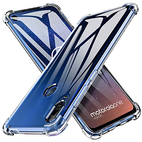Motorola One Vision Case, KuGi Motorola One Vision Case with Shockproof & Scratch Resistant Protective, Ultra Slim Clear Hybrid Soft Rubber TPU Case Cover for Motorola One Vision Phone(Crystal Clear) ()