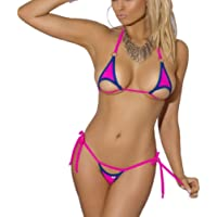 EVAbaby Sexy Women Halter Micro Bikini Set Lingerie Cut Out Cup 2 Piece Extreme Mini Tie Seamless Silk Swimsuit