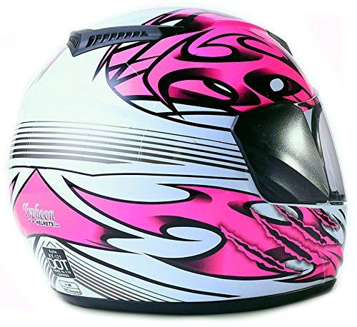 Youth Kids Full Face Helmet with Shield Motorcycle Street MX Dirtbike ATV - Pink (XL) by Typhoon Helmets (Image #2)