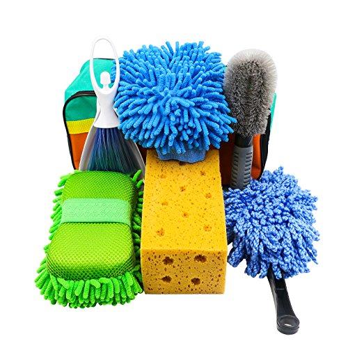 AUTOOL 7PCS Portable Car Wash Clean Kit Includes Wash Mitt Duster Wheel Brush Mini Vent Brush Suction Sponge Block Coral Wash Sponge with Carry Bag Automotive Cleaning Kits