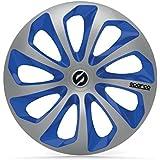 Satz Sparco Radzierblenden Sicilia 14-Zoll Silber//Blau//Karbon