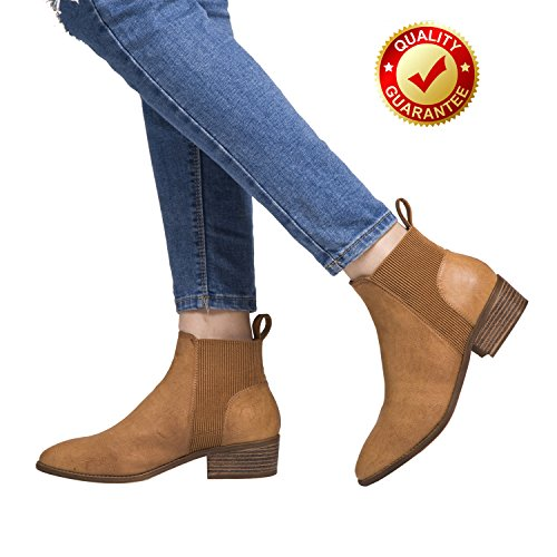 Short Ankle Boots For Women, Winter Spring Low Chunky Block Stacked Heels Round Toe Waist Elastic Slip On Boots For Lady Big Girls Brown US Size 8