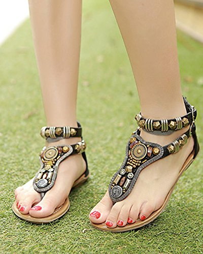 las mujer Bohemia Sandalias T-Correa Romano Retro Planas Zapatos De Hebilla,Sandalias del Verano Negro