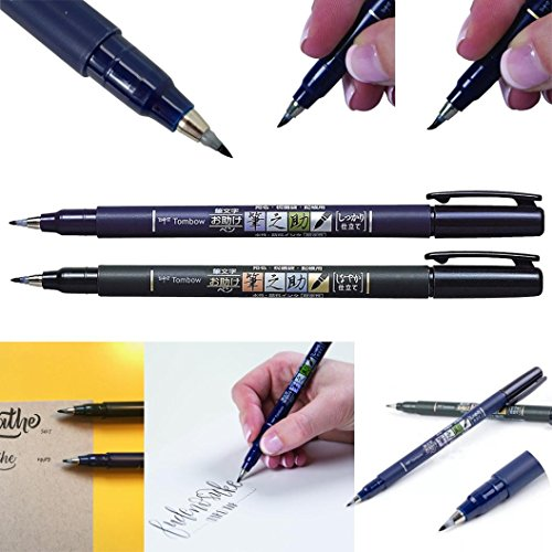 Signature Pen,AutumnFall 2Pcs Fudenosuke Brush Pen Hard Soft Brush Pen Calligraphy Art Drawings Invitation Signature Pen (Black)