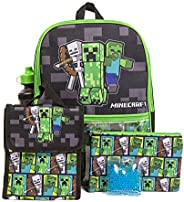 Minécraft Backpack Set with Lunch Box for Boys & Girls, 16 inch, 5 Piece Value