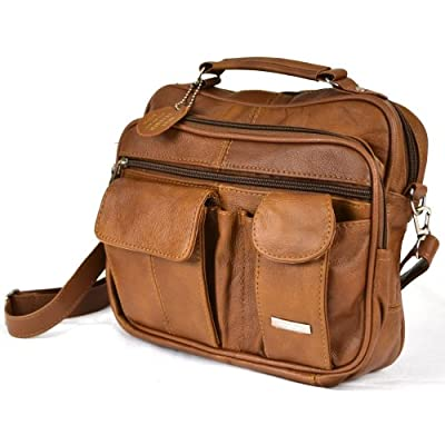 Leather Travel Bag with Carry Handle, Detachable Shoulder Strap and Mobile Phone Pocket ( Tan ) - luggage