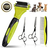 OMID 4Pieces Professinal Dog/ Cat Grooming Thinning/Teeth Scissors/Shears- Dog Trimmer Dematting Comb Tool Undercoat Rake for Cat Dog Pet Brush Hair Knot Cutter - Pet Grooming Tool for Shedding and Detangling