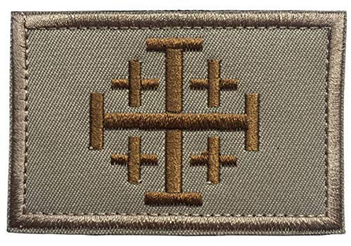 "SpaceAuto Jerusalem Cross Crusader Order Holy Sepulchre Tactical Morale Cross Embroidered Patch 3.14"" x 1.97"" Khaki & Golden"