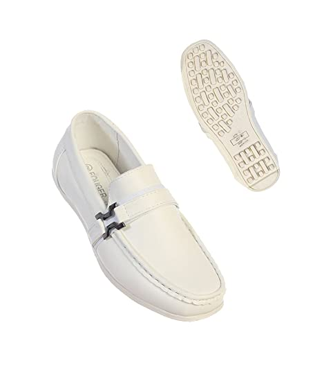 488fde4c5171 Fouger Boys  White Formal Dressy Leather Loafers Shoes With Buckle for  Weddings