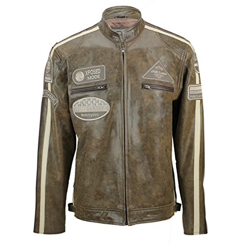 Xposed – Real suave piel Fitted Carreras Biker chaqueta Vintage Urban Retro Look Desert-brown