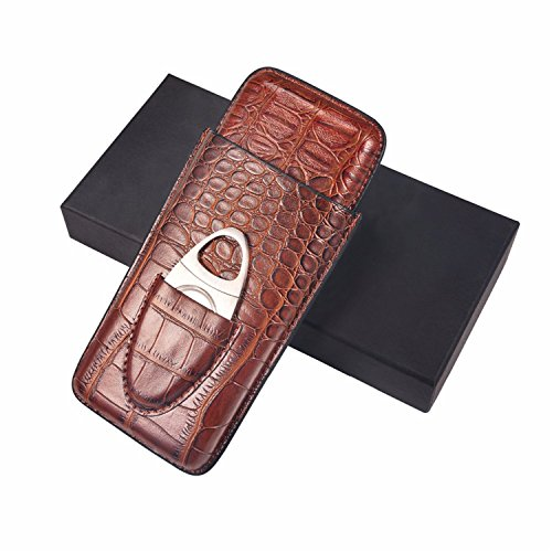 Cigar Cases Genuine Leather Cigar Tube Case With Cutter Set Travel Cigar Case Portable Humidor Box Holder 3 Tube 20Mm To Protect Your Cigars Brown  Brown