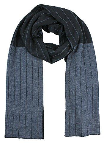 Emji 100% Cashwool Merino Wool Scarf, Men's or Women's Pinstripe Double Knit Reversible Scarf, Black and Gray by Emji