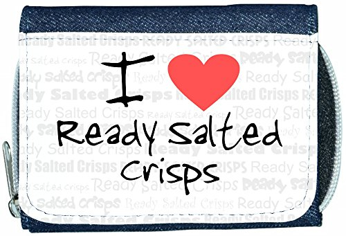 I Love Heart Ready Salted Crisps Denim Wallet