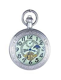 OGLE Waterproof Large Digital Magnifier Luminous Tourbillon Phases Moon Pendant Necklace Chain Fob Automatic Mechanical Pocket Watch