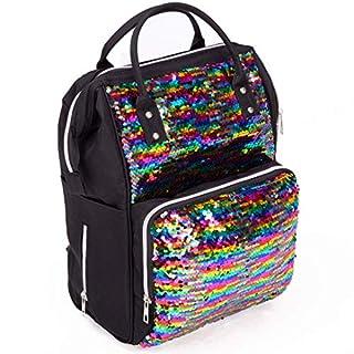 Modern Design Special Fabric Diaper Bag Backpack Multicolor, Multifunctional Travel Back Pack, Waterproof, Insulated Pockets Stroller Straps (BLACK/MULTICOLOR)