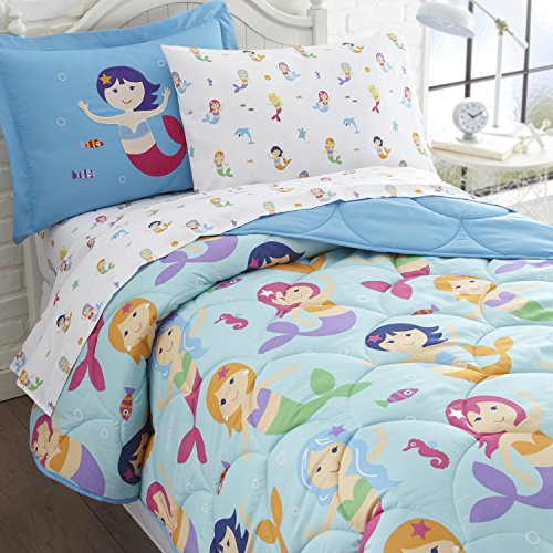 Wildkin 5 Piece Twin Bed-in-A-Bag, 100% Microfiber Bedding Set, Includes Comforter, Flat Sheet, Fitted Sheet, Pillowcase, and Embroidered Sham, Olive Kids Design - Mermaids ()