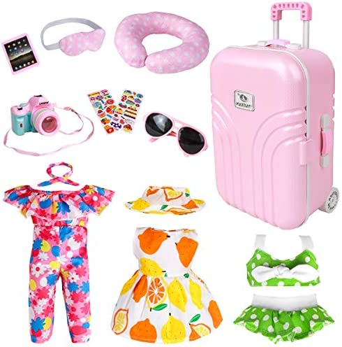 18 Inch Doll Travel Play Set – Doll Accessories with Carry on Suitcase Luggage, 3 Sets of Doll Clothes, Doll Travel Gear Play Set Fit American Girl