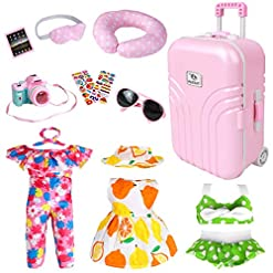 Travel Junkie 51eI-ASPTsL._SS247_ 18 Inch Doll Travel Play Set - Doll Accessories with Carry on Suitcase Luggage, 3 Sets of Doll Clothes, Doll Travel Gear…