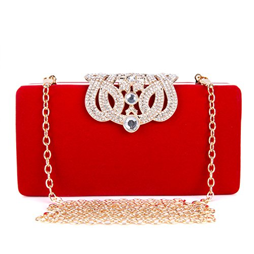 Party Wedding Shell Nightclub Pillow Red Diamonds Hard Glitter Women Clutch Shaped Pearls for Purple Handbag Clubs Evening Bag fO4zq6w