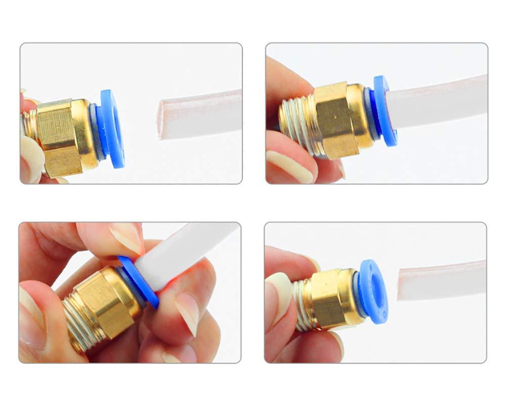 1 Meter mit 8 St/ück PC4-M6 Schnellkupplung f/ür 3D Drucker Bowden Extruder GLOBALDREAM Teflonrohr f/ür 1,75mm 4 St/ück PTFE Teflonrohr