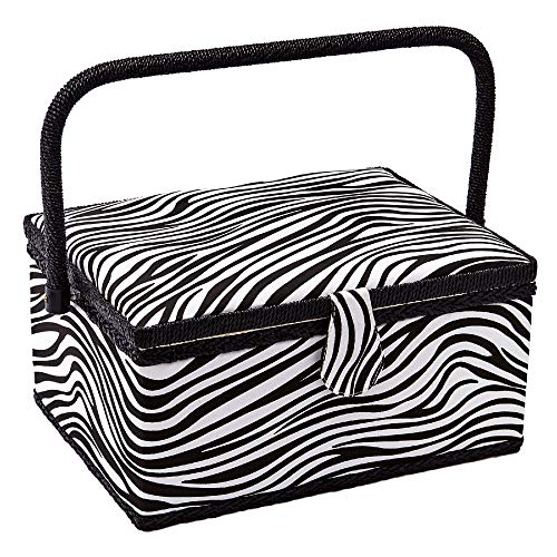 """Sewing Basket with Zebra Design - Sewing Kit Storage Box with Removable Tray, Built-in Pin Cushion and Interior Pocket - by Adolfo Design (Large - 12"""" x 9"""" x 6"""", Zebra)"""
