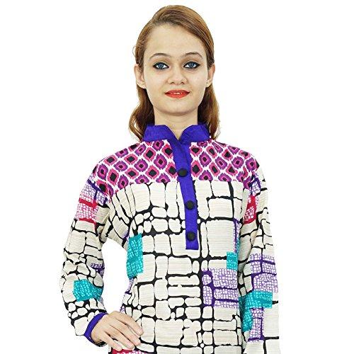 Étnica Kurti diseñador indio de Bollywood algodón desgaste de mujeres vestido de la túnica casual Blanquecino